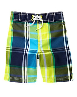 Neon Plaid Board Shorts by Gymboree in Vacation