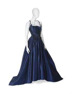 Pleated Bodice Midnight Blue Satin Ball Gown by Christian Lacroix in American Horror Story