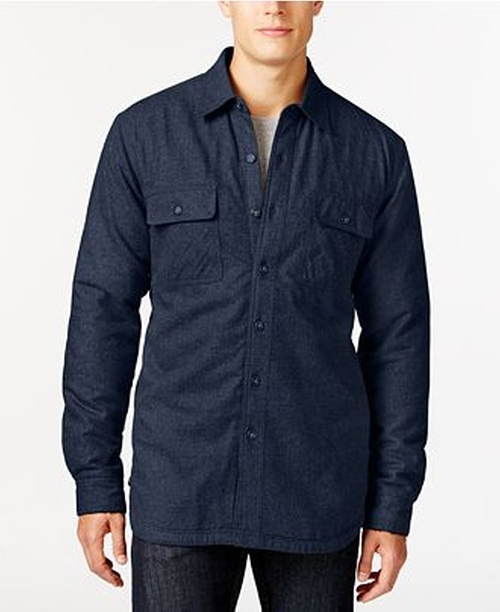 Solid Twill Sherpa-Lined Shirt Jacket by Club Room in Quantico