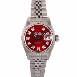 Datejust Stainless Steel And Diamond Red Dial Watch by Rolex in Empire