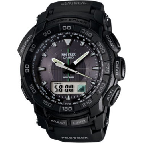 Pro Trek Mens Triple Sensor Solar Watch by Casio in Blackhat