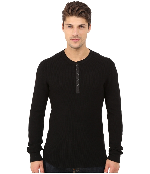 Long Sleeve Knit Henley by Howe Tokyo in The Vampire Diaries - Season 7 Episode 7