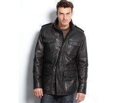 Leather Four-Pocket Car Coat by Vince Camuto in Fast & Furious 6