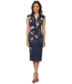 Antonya Fuchsia Floral Midi Dress by Ted Baker in Black-ish