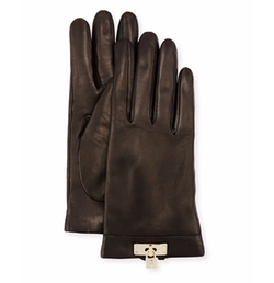 Leather Lock-Cuff Gloves by Portolano in Gypsy