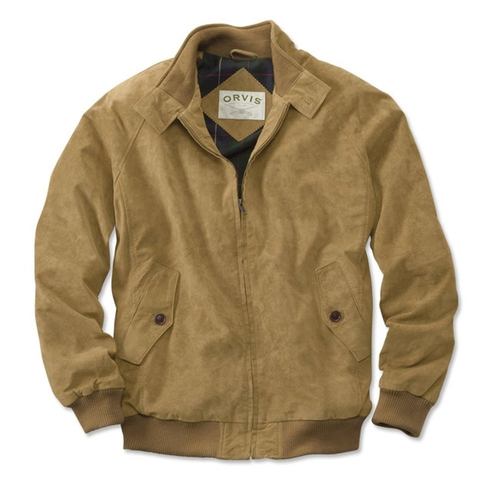 Men's Suede Bomber Jacket by Orvis in Black Mass