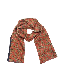 Maxi Paisley Print Silk Reversible Scarf by Forzieri in Self/Less