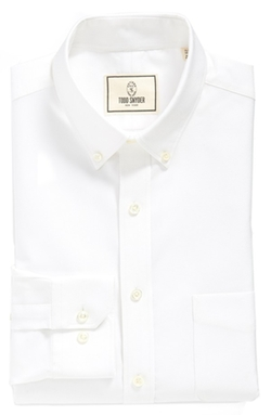 Trim Fit Solid Dress Shirt by Todd Snyder White Label in Suits