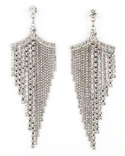 Silvertone Rhinestone Chandelier Earrings by A.V. Max in About Last Night