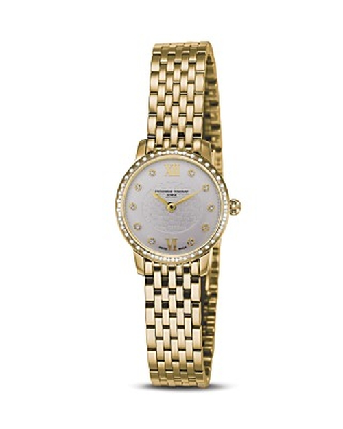"Gold Plated Stainless Steel ""Slim Line"" Quartz Watch with Diamonds by Frederique Constant in Empire - Season 2 Episode 4"