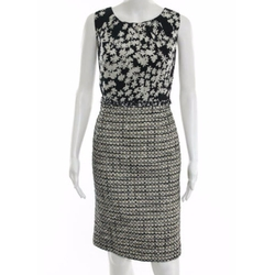 Cotton Basket Woven Tweed Sheath Dress by Carolina Herrera in Suits