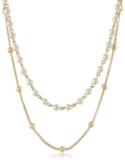 Gold-Tone Mesh and Pearl Double Strand Necklace by Anne Klein in Pitch Perfect 2