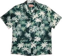 Men's Palm Heritage Hawaiian Aloha Cotton Shirt by Maui Shirts in Blended