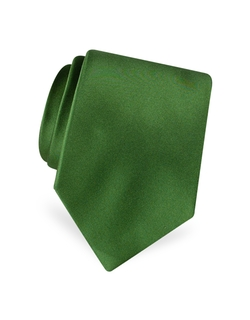 Solid Pure Silk Satin Silk Tie by Forzieri in Empire