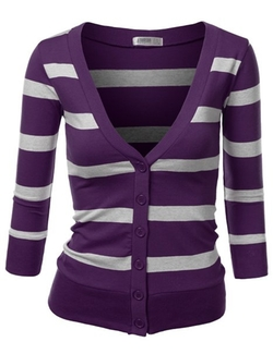 Women's Striped V-Neck Button Down Cardigan by J.Tomson in The Big Bang Theory