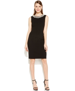 Pearl-Bead-Trim Sheath Dress by Calvin Klein in American Horror Story