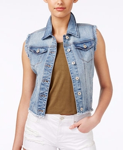 Frayed Medium Wash Denim Vest by Vanilla Star in The Fundamentals of Caring