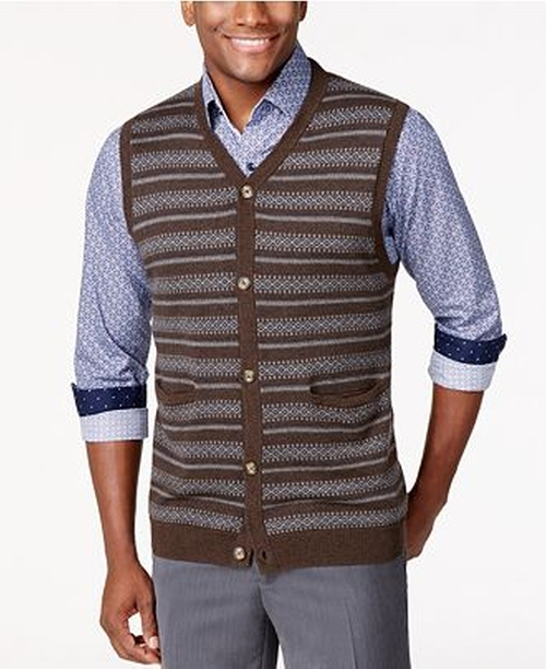 Big and Tall Fairisle Argyle Sweater Vest by Tasso Elba in Sixteen Candles