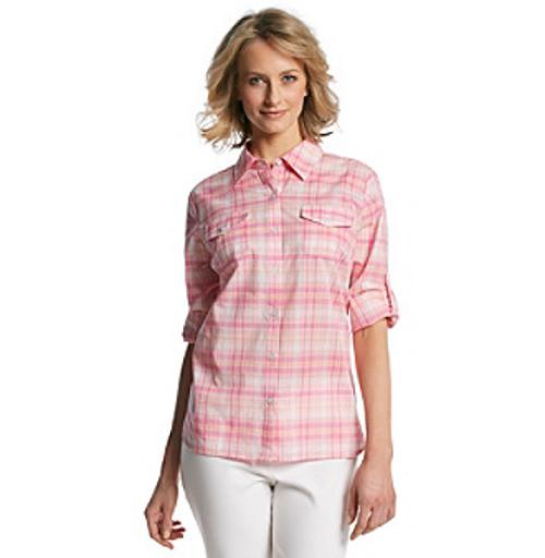 Roll Tab Sleeve Large Plaid Camp Shirt by Studio Works in Tammy