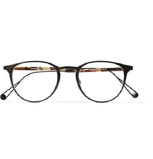 OXFORD ROUND-FRAME TITANIUM AND ACETATE OPTICAL GLASSES by GARRETT LEIGHT CALIFORNIA OPTICAL in The Wolf of Wall Street