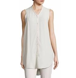 Bone Silk Georgette Shirt by Eileen Fisher in The Flash