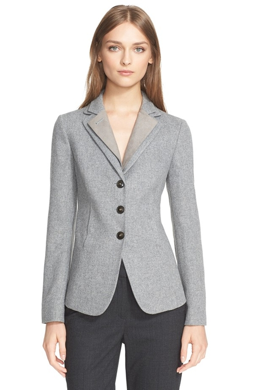 Herringbone Jacket by Armani Collezioni in The Good Wife - Season 7 Episode 7