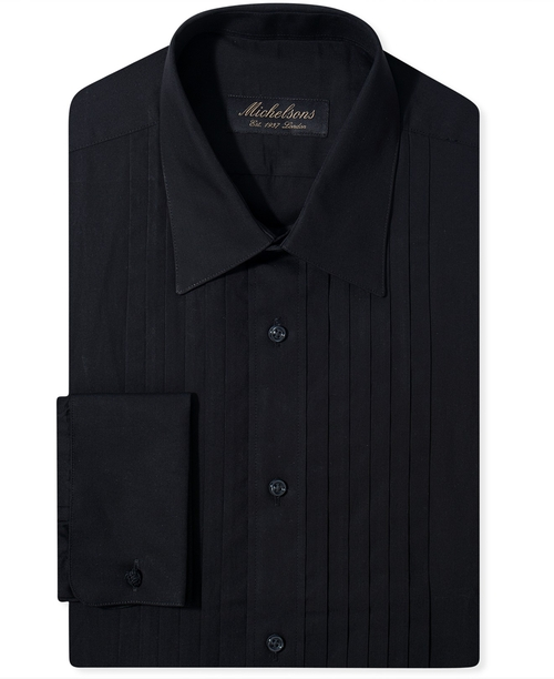 Pleated Point Tuxedo Shirt by Michelsons Of London in Knocked Up