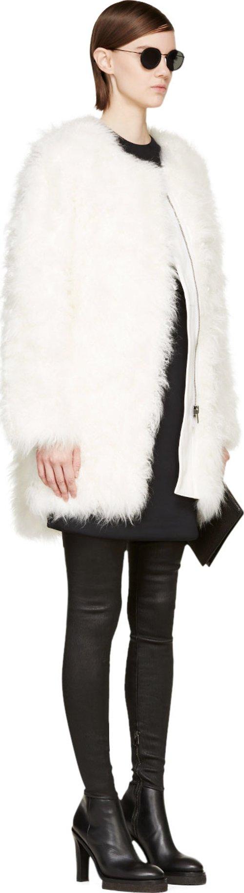 White Goat Fur Coat by Helmut Lang in Focus