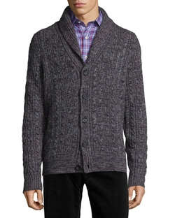 Shawl-Collar Chunky Cable-Knit Cashmere Cardigan, Gray by Neiman Marcus in Krampus