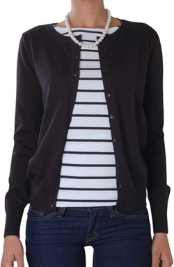 Classic Round Neck Cardigan by Humble Chic New York in American Pie