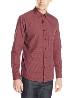 Men's Everett Mini Check Long Sleeve Shirt by Volcom in The Great Indoors