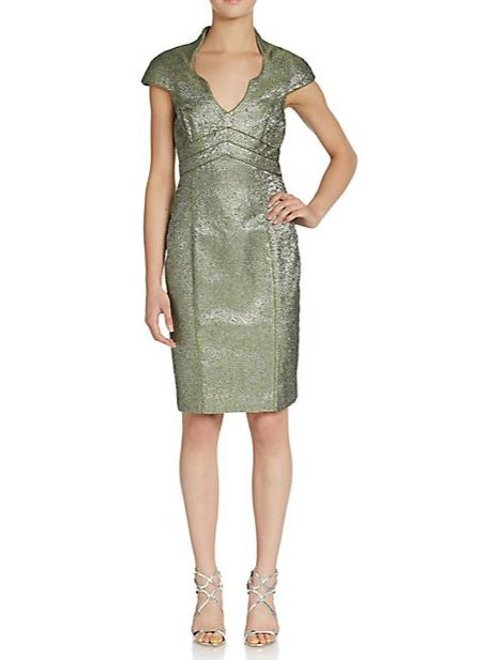Metallic Brocade Sheath Dress by Theia in Drive