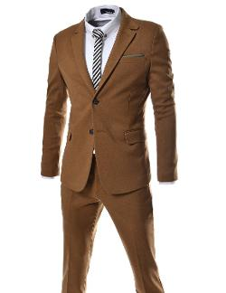 Men's Slim Fit Single Breasted 2 Button Notched Lapel Dress Suit Set by TheLees in Hall Pass