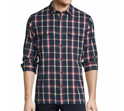 Plaid Flannel Military Shirt by Vince in New Girl