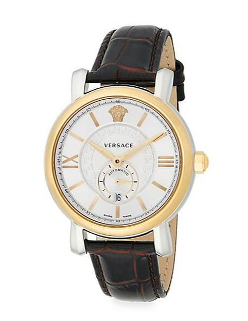 Urban Gent Goldtone Embossed Leather Watch by Versace in Demolition