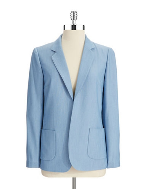 Chambray Blazer by Tahari Arthur S. Levine in The Good Wife - Season 7 Episode 5