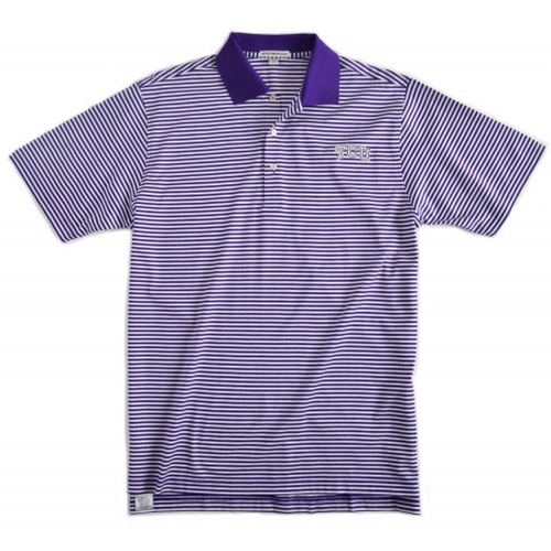 Texas Christian University Classic Stripe Golf Shirt by Peter Milar in Ballers - Season 1 Episode 10