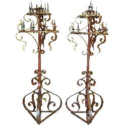 Tall Pair of Red & Gold Iron Candelabras - France, 19th Century by Xavier Nicod in The Great Gatsby