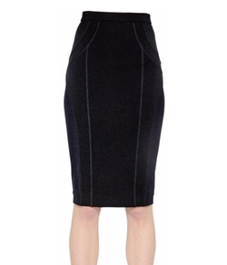 Mesh & Stretch Jersey Pencil Skirt by Versace in Power
