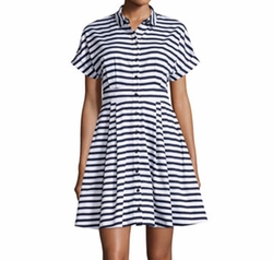 Short-Sleeve Striped Fit & Flare Shirtdress by Kate Spade New York in New Girl