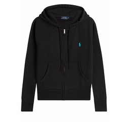 Zipped Cotton Blend Hoodie by Polo Ralph Lauren in Guilt