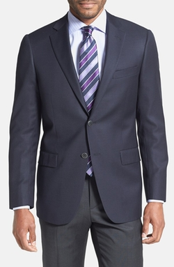 New York Classic Fit Navy Wool Blend Blazer by Hart Schaffner Marx in Elementary