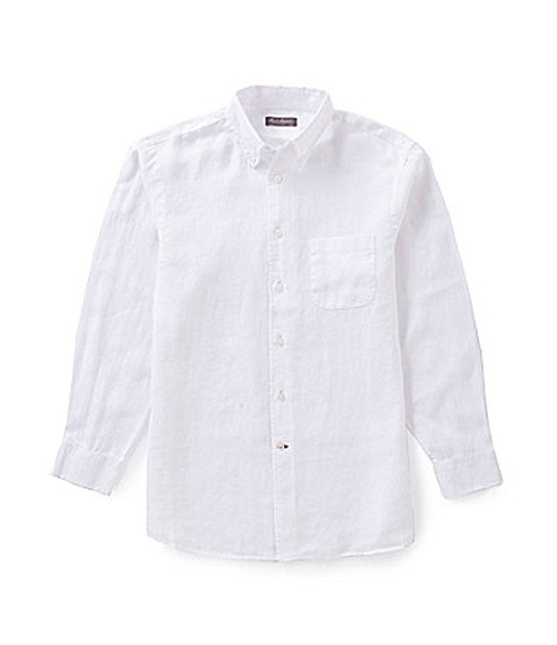 Signature Long-Sleeve Solid Linen Sportshirt by Daniel Cremieux in Mr. & Mrs. Smith