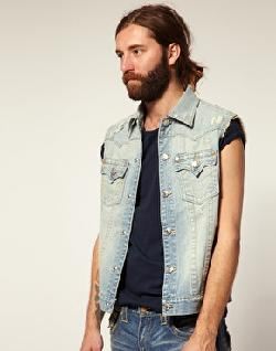 Earl Sleeveless Denim Jacket by True Religion in Sabotage