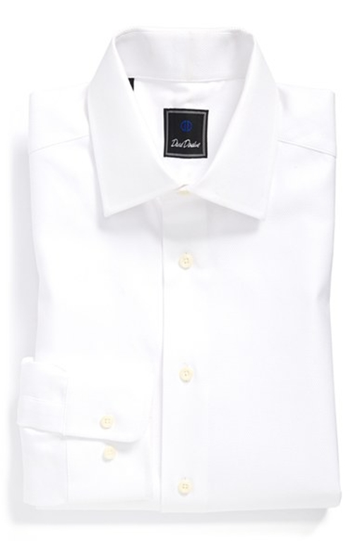 Regular Fit Solid Dress Shirt by David Donahue in McFarland, USA