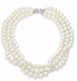 Three Strand Faux-Pearl Necklace by Kenneth Jay Lane in Billions