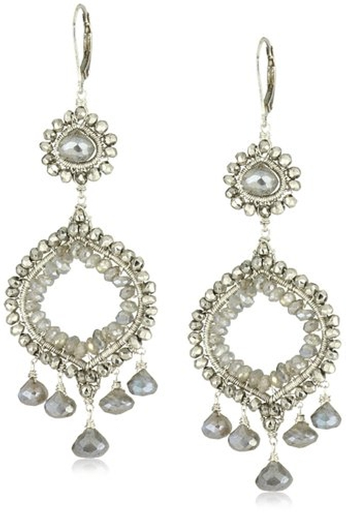 Stunning Double Drop Silver Pyrite and Labradorite Chandelier Earrings by Dana Kellin in Suits - Season 5 Episode 8