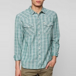 Delco Chambray Plaid Western Shirt by Salt Valley  in The Big Bang Theory