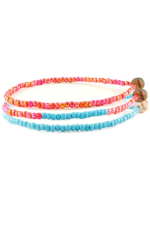 Seed Bead Bracelet Set | Coral & Baby Blue by Domo Beads in No Escape