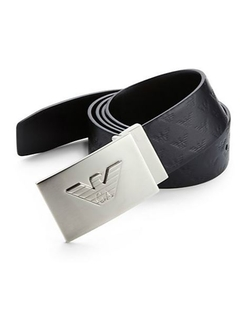 Reversible Leather Logo Belt by Emporio Armani in Black Mass
